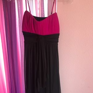 Flowy, Pink And Black Dress